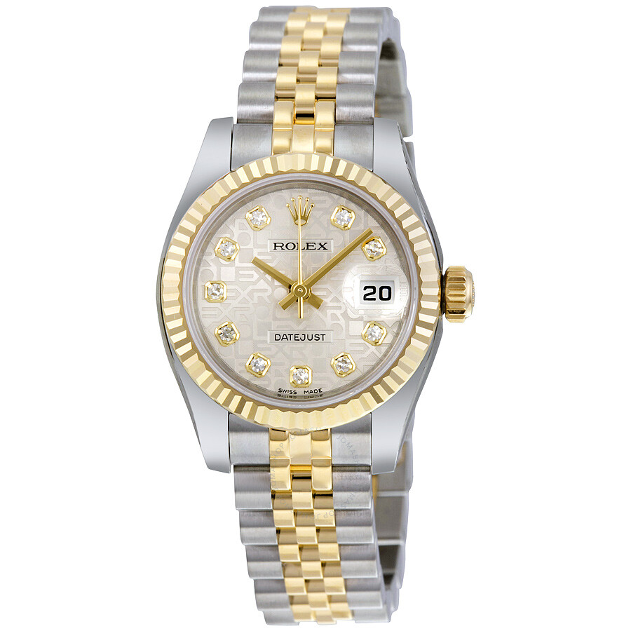 rolex lady datejust 26 silver jubilee with 10 diamonds. Black Bedroom Furniture Sets. Home Design Ideas