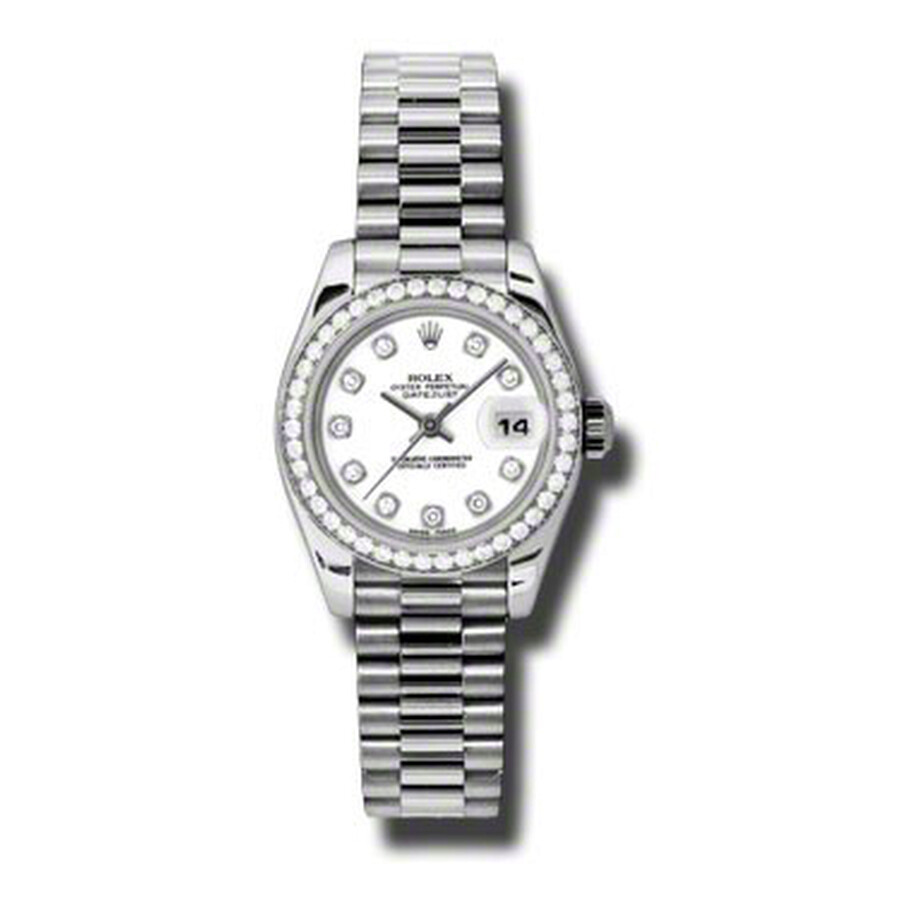 Rolex Lady-Datejust 26 White Dial Platinum President Automatic Ladies Watch ..