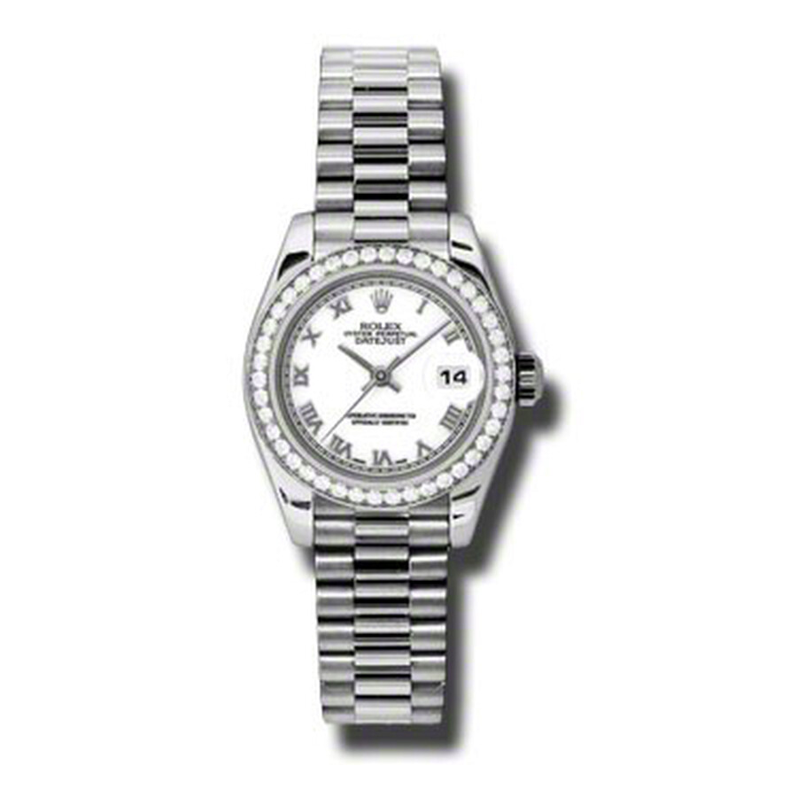 Rolex Lady-Datejust 26 White Dial Platinum President Automatic Ladies Watch ..