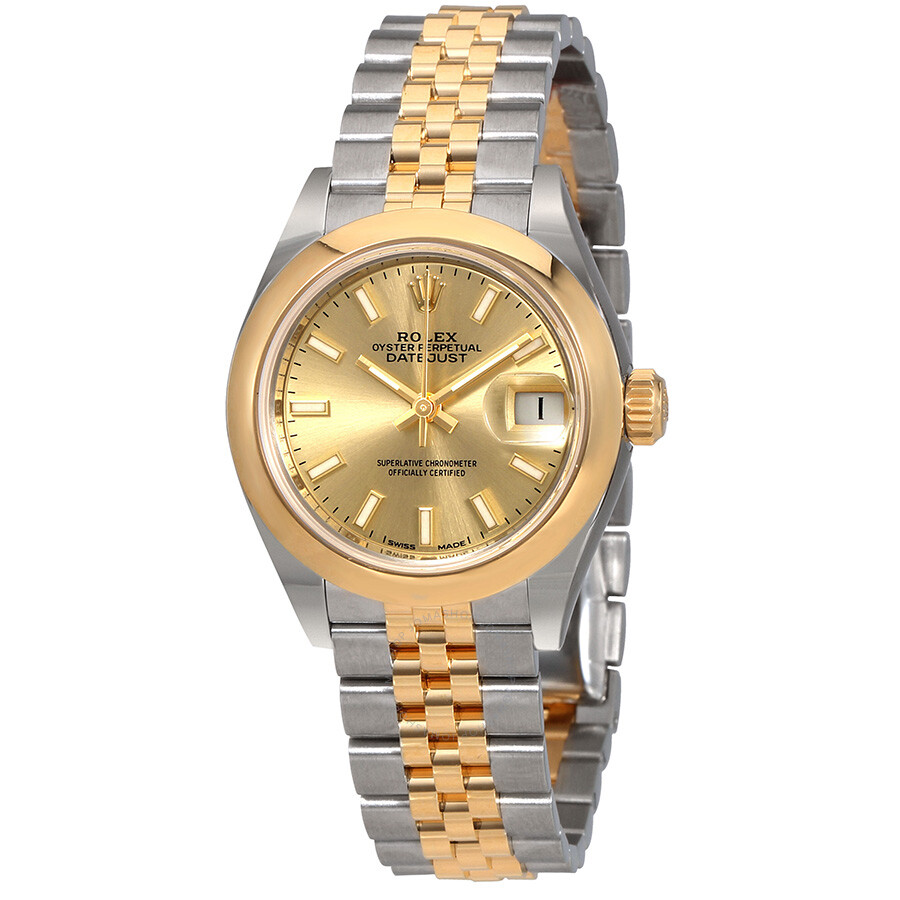Rolex lady datejust 28 champagne dial steel and 18kt yellow gold jubilee watch 279163csj lady for Jubilee watch