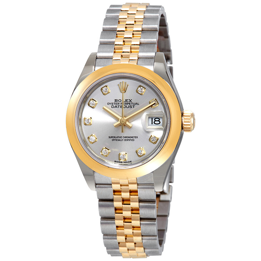 Rolex lady datejust 28 silver dial steel and 18k yellow gold jubilee watch 279163sdj lady for Jubilee watch