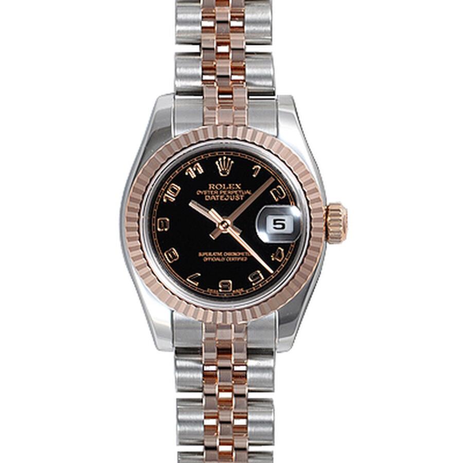 Rolex Lady Datejust Black Arabic Dial 18k Rose Gold Fluted Bezel Ladies Two Tone Watch 179171BKAJ