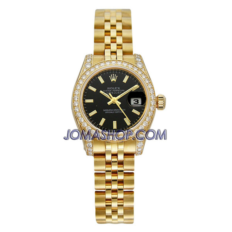 Rolex Lady Datejust Black Index Dial Diamond Bezel and Case 18k Yellow Gold Ladies Watch 179158BKSJ