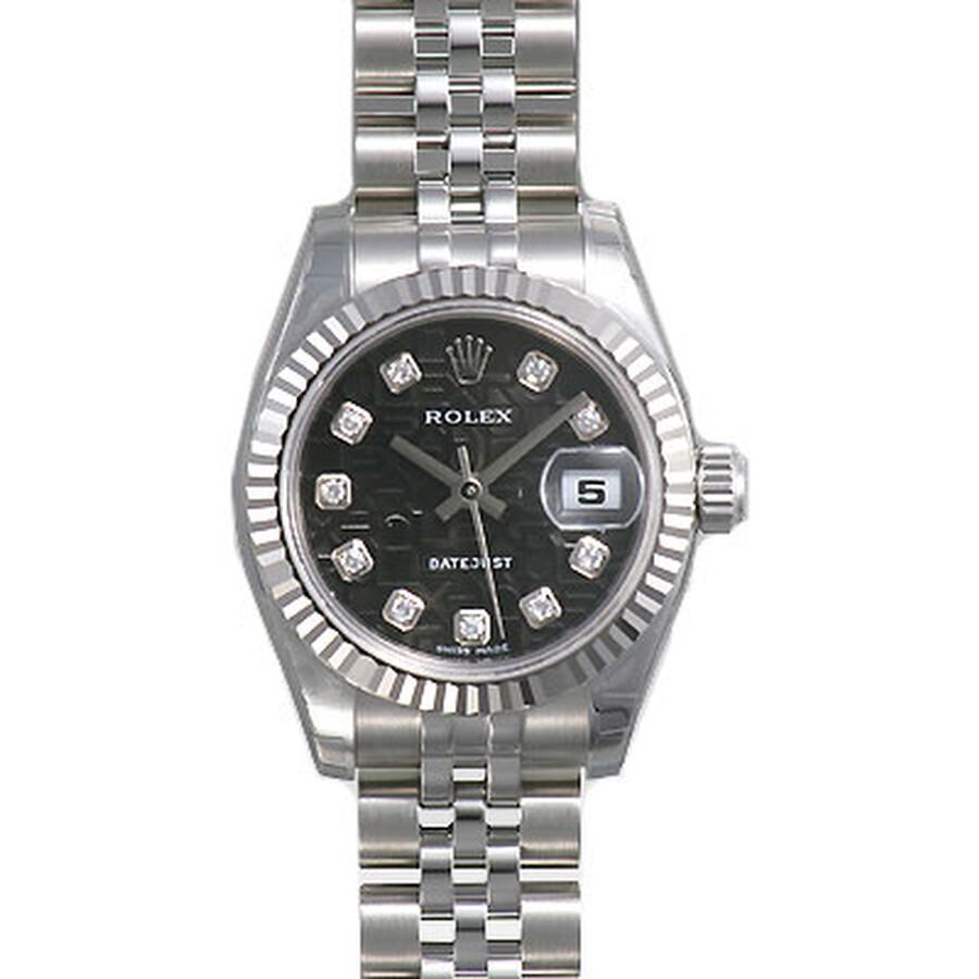 Rolex Lady Datejust Black Jubilee Diamond Dial 18k White Gold Fluted Bezel Steel Jubilee Bracelet Wa
