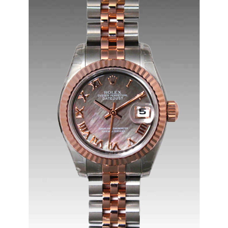Rolex Lady Datejust Black Mother of Pearl Roman Dial 18k Rose Gold Fluted Bezel Two Tone Ladies Watc