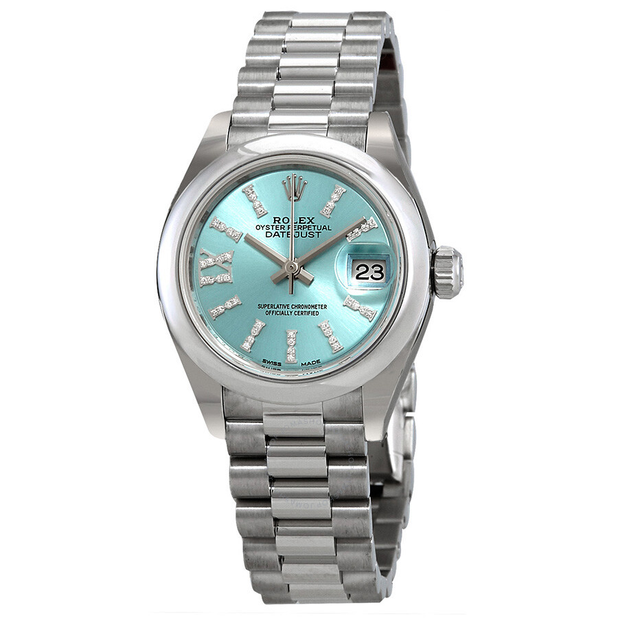Rolex Lady-Datejust Ice Blue Diamond Dial Ladies Platinum President Watch 27..