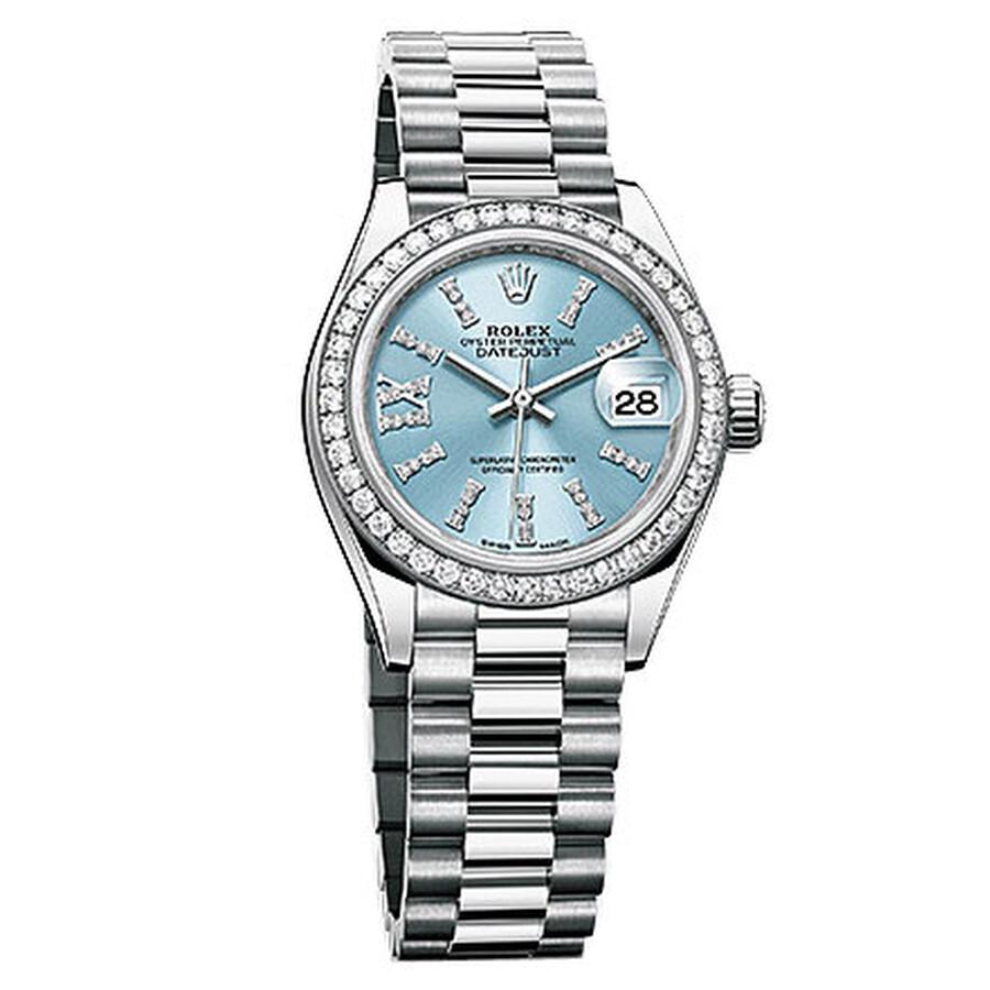 Rolex Lady-Datejust 28 Ice Blue Dial Platinum President Automatic Ladies Wat..
