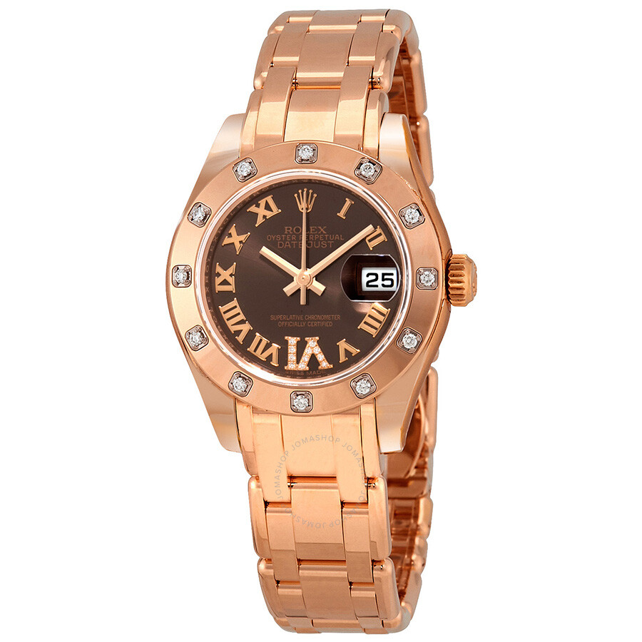 Rolex lady datejust pearlmaster chocolate brown dial 18k everose gold automatic ladies watch for Rolex pearlmaster