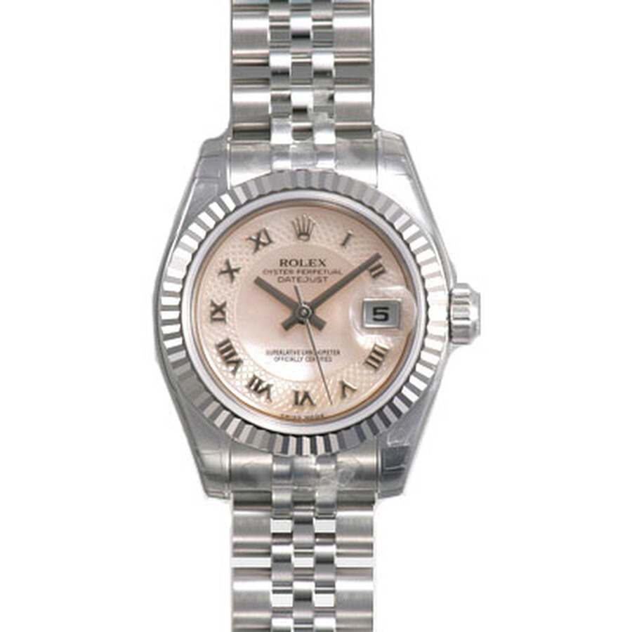 Rolex Lady Datejust Pink Decorated Mother of Pearl Roman Dial 18k White Gold Fluted Bezel Steel Jubi