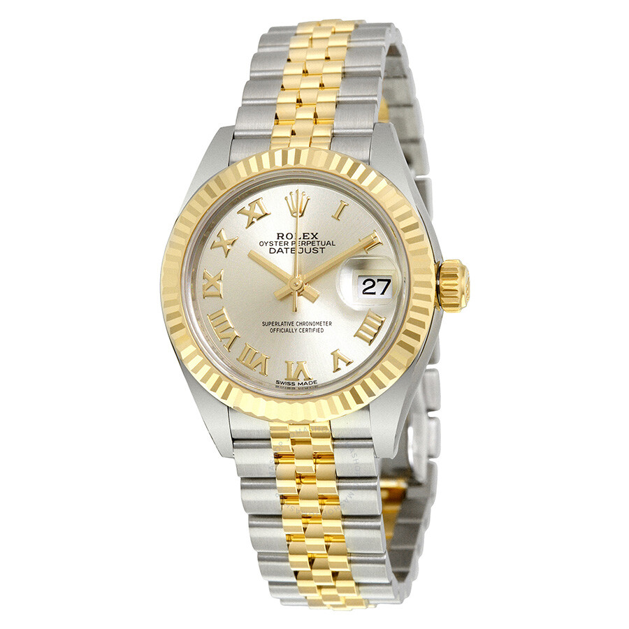 rolex datejust silver automatic 18 carat yellow