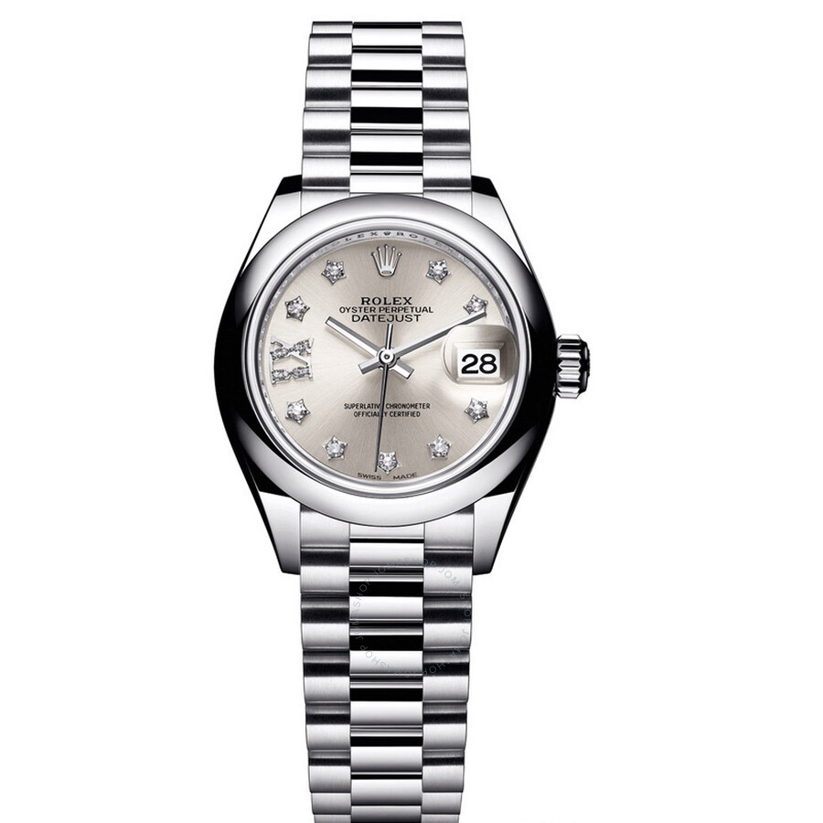 Rolex Lady-Datejust 28 Silver Dial Platinum President Automatic Ladies Watch..