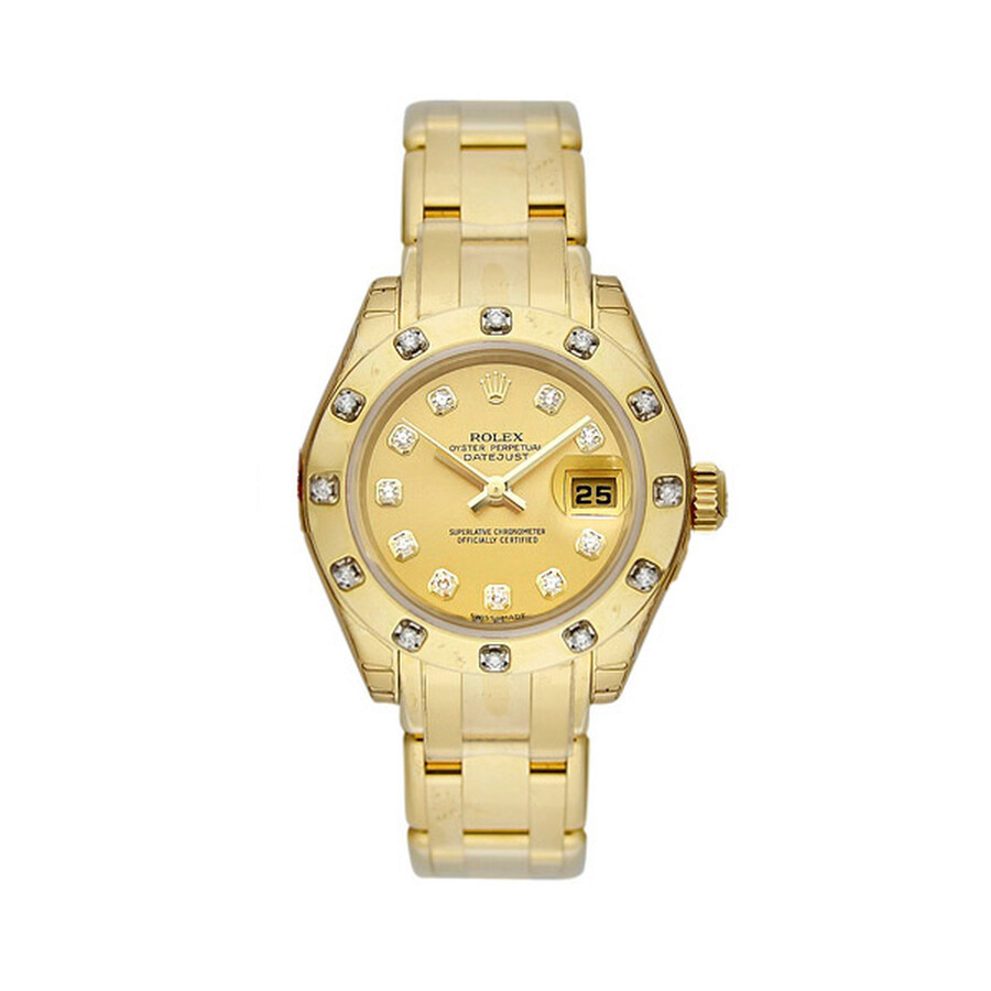 Rolex Lady-Datejust Pearlmaster Champagne Dial 18K Yellow Gold Diamond Watch 80318CDO