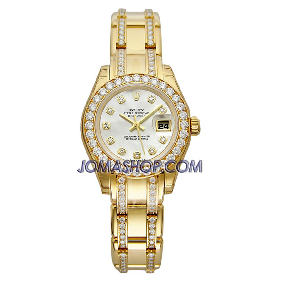Rolex Lady-Datejust Pearlmaster Mother of Pearl Dial 18K Yellow Gold Diamond Watch 80298.74948MDDO