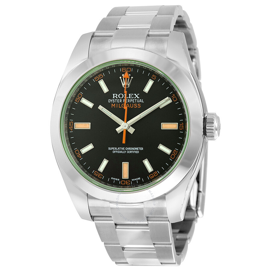 Rolex milgauss black dial domed bezel green crystal oyster bracelet unisex watch 116400v for Rolex milgauss