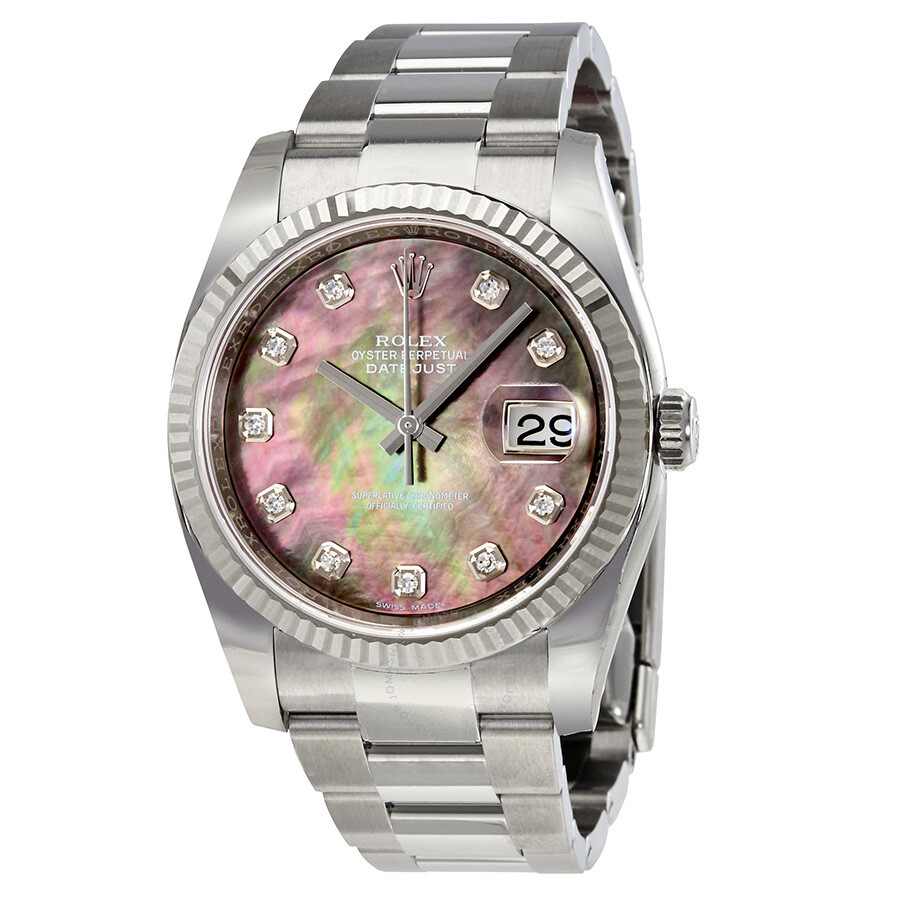 Rolex Oyster Perpetual 36 mm Black Mother of Pearl Dial Stainless Steel Brac..