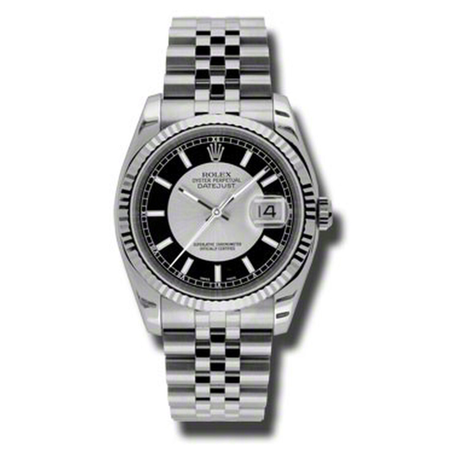Rolex Oyster Perpetual 36 mm Silver and Black Dial Stainless Steel Jubilee B..