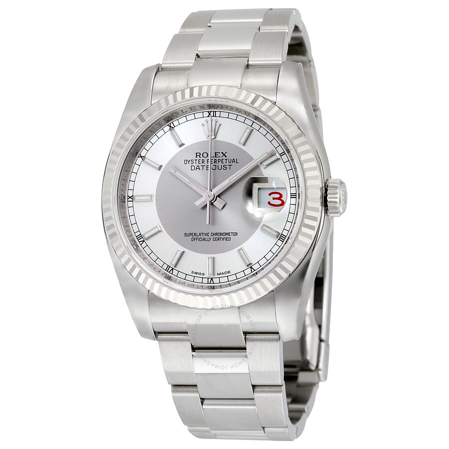 Rolex Oyster Perpetual 36 mm Silver Rhodium Dial Stainless Steel Bracelet Au..