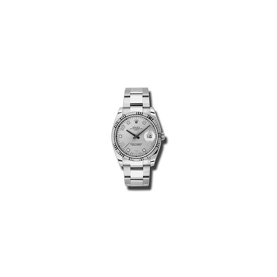 Rolex Oyster Perpetual Date Silver Dial Automatic Mens Watch 115234SDO