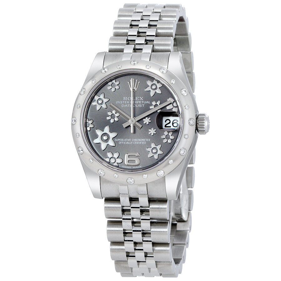 Rolex Oyster Perpetual Datejust 31 Floral Rhodium Dial Stainless Steel Jubil..