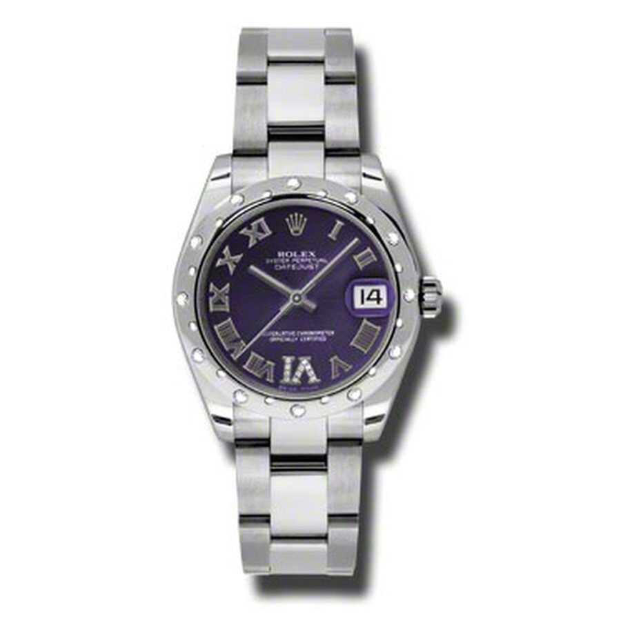 Rolex Oyster Perpetual Datejust 31 Purple Dial Stainless Steel Bracelet Auto..