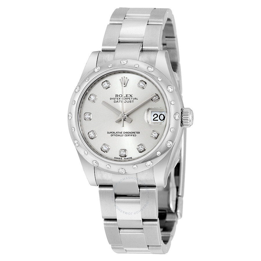 Rolex oyster perpetual datejust 31 silver dial stainless steel bracelet automatic ladies watch for Rolex date just 31