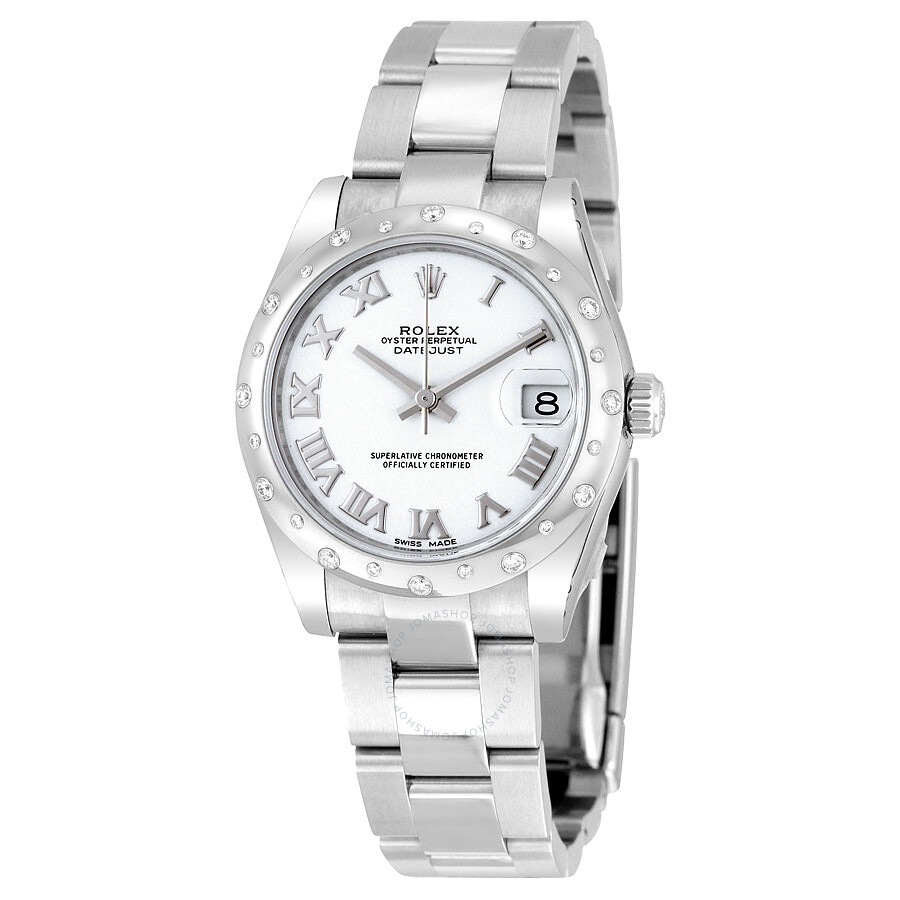 Rolex oyster perpetual datejust 31 white dial stainless steel bracelet automatic ladies watch for Oyster watches