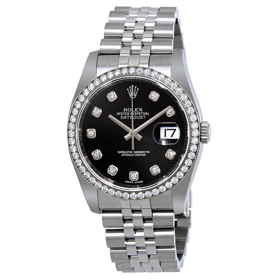 Rolex Oyster Perpetual Datejust 36 Black Dial Stainless Steel Jubilee Bracel..