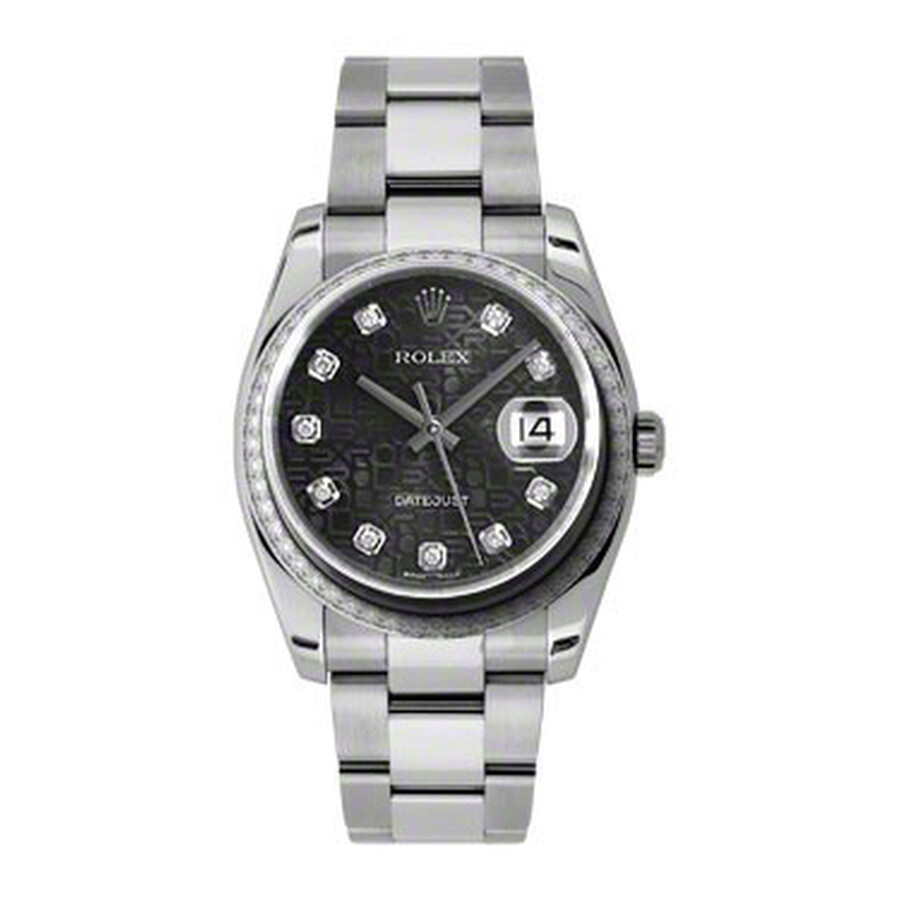 Rolex Oyster Perpetual Datejust 36 Black Dial Stainless Steel Bracelet Autom..
