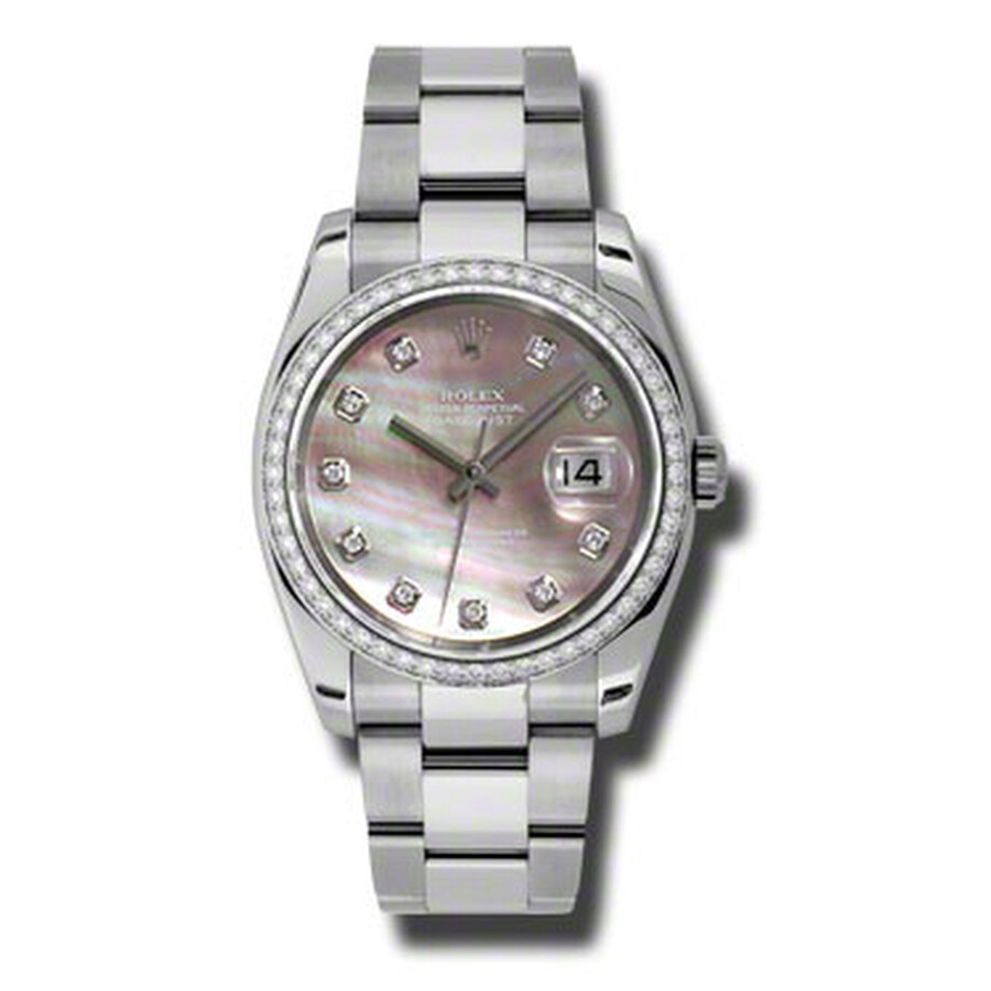 Rolex Oyster Perpetual Datejust 36 Black Mother of Pearl Dial Stainless Stee..