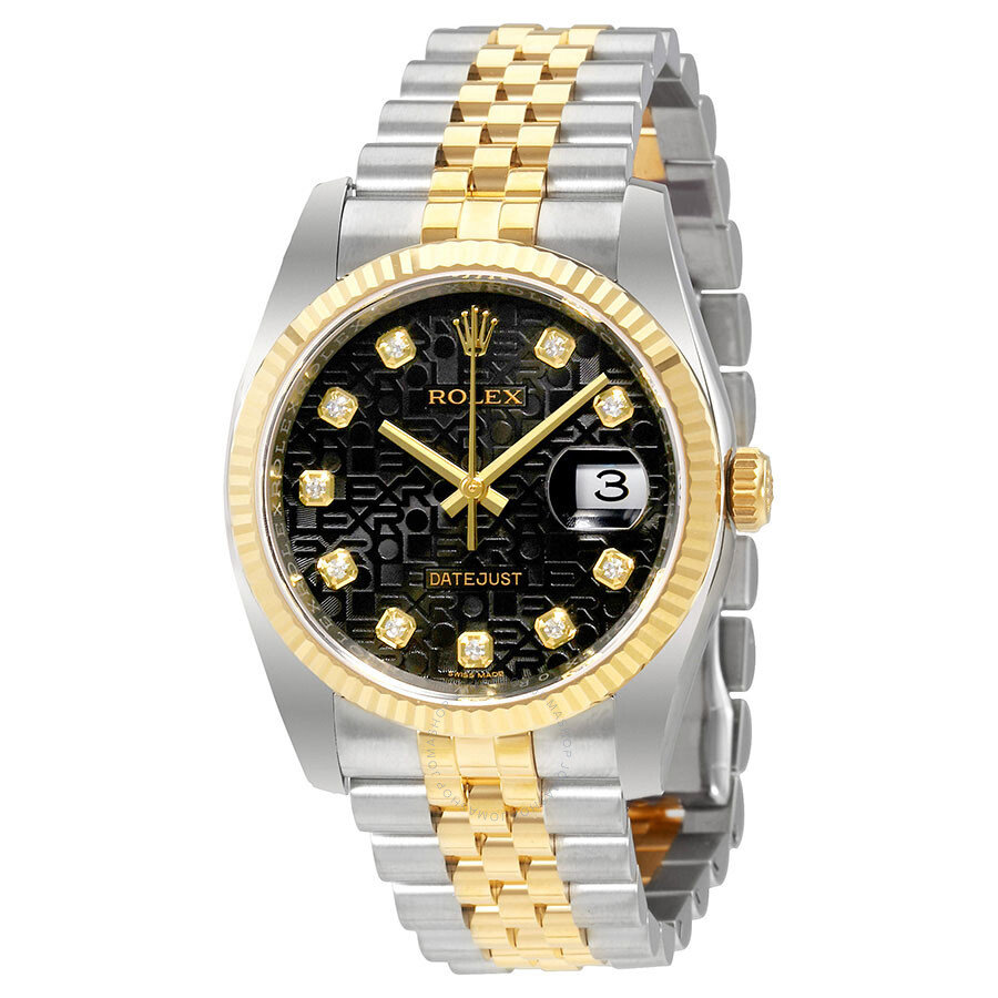 Rolex Oyster Perpetual Datejust 36 Black Set with Diamonds Dial Stainless St..