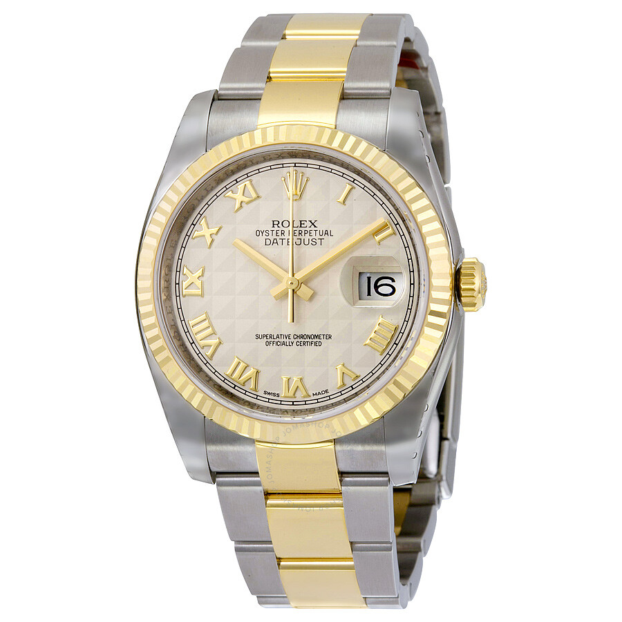 d41fae507e5 Rolex Oyster Perpetual Datejust 36 Ivory Pyramid Dial Stainless Steel and  18K Yellow Gold