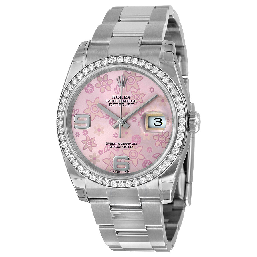 Rolex Oyster Perpetual Datejust 36 Pink Floral Dial Stainless Steel Bracelet..