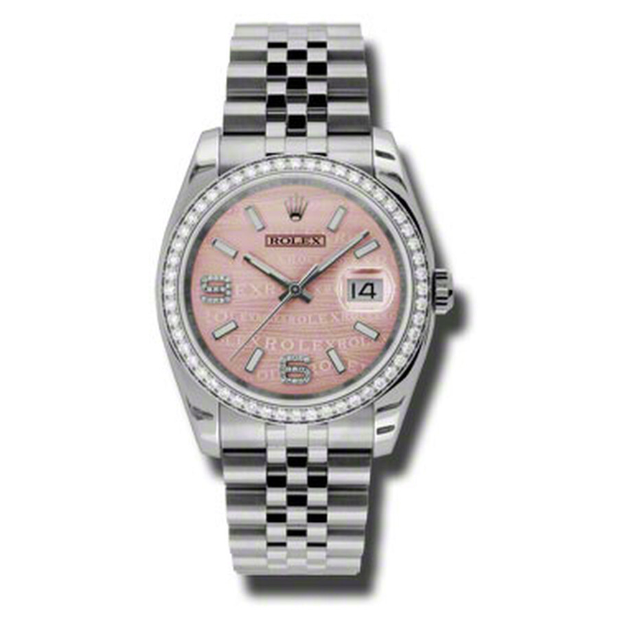 Rolex Oyster Perpetual Datejust 36 Pink Wave Dial Stainless Steel Jubilee Br..
