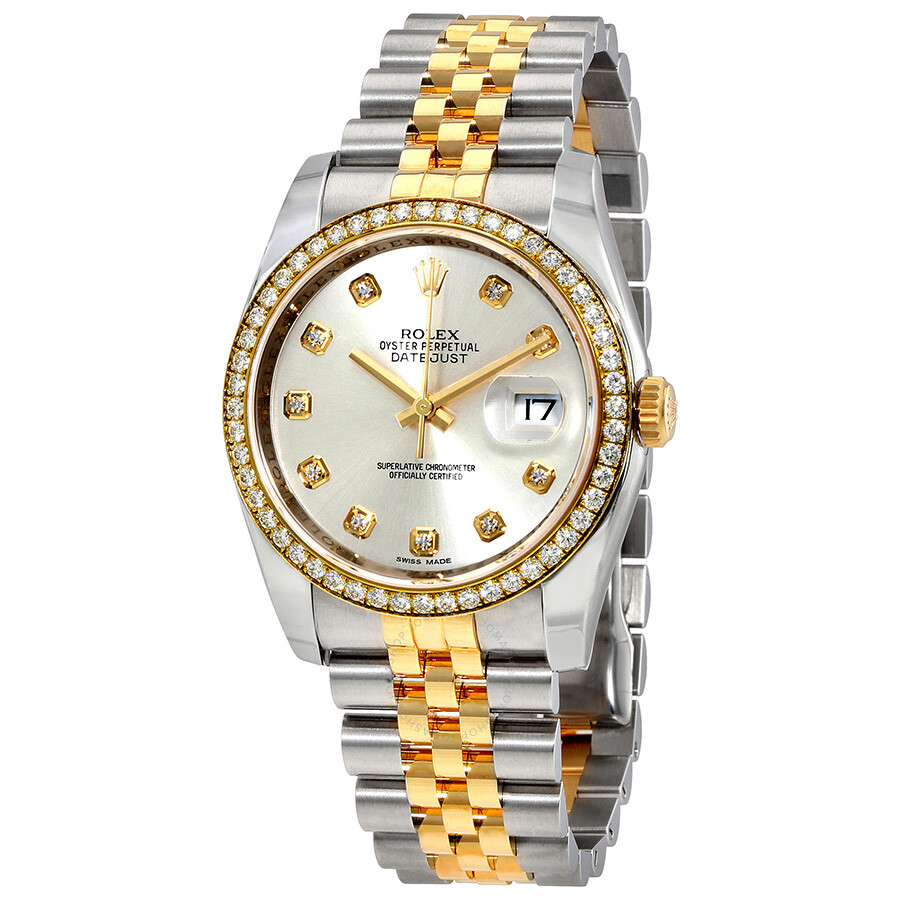Rolex oyster perpetual datejust 36 silver dial stainless steel and 18k yellow gold jubilee for Jubilee watch