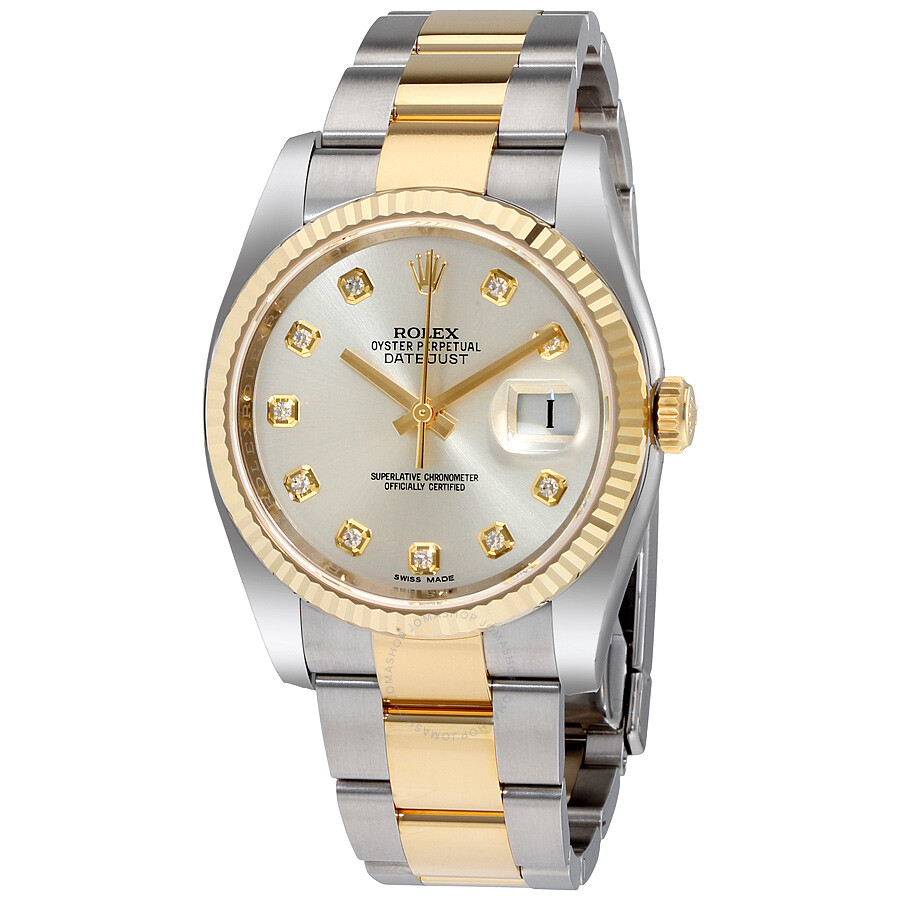 b7df4936571 Rolex Oyster Perpetual Datejust 36 Silver Dial Stainless Steel and 18K  Yellow Gold Bracele