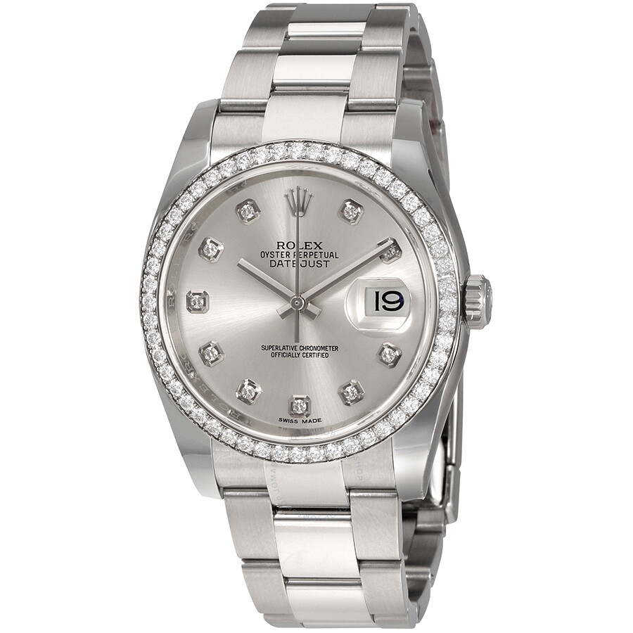 Rolex Oyster Perpetual Datejust 36 Silver Dial Stainless Steel Bracelet Auto..