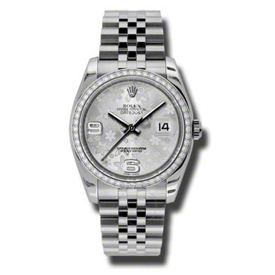 Rolex Oyster Perpetual Datejust 36 Silver Floral Dial Stainless Steel Jubile..