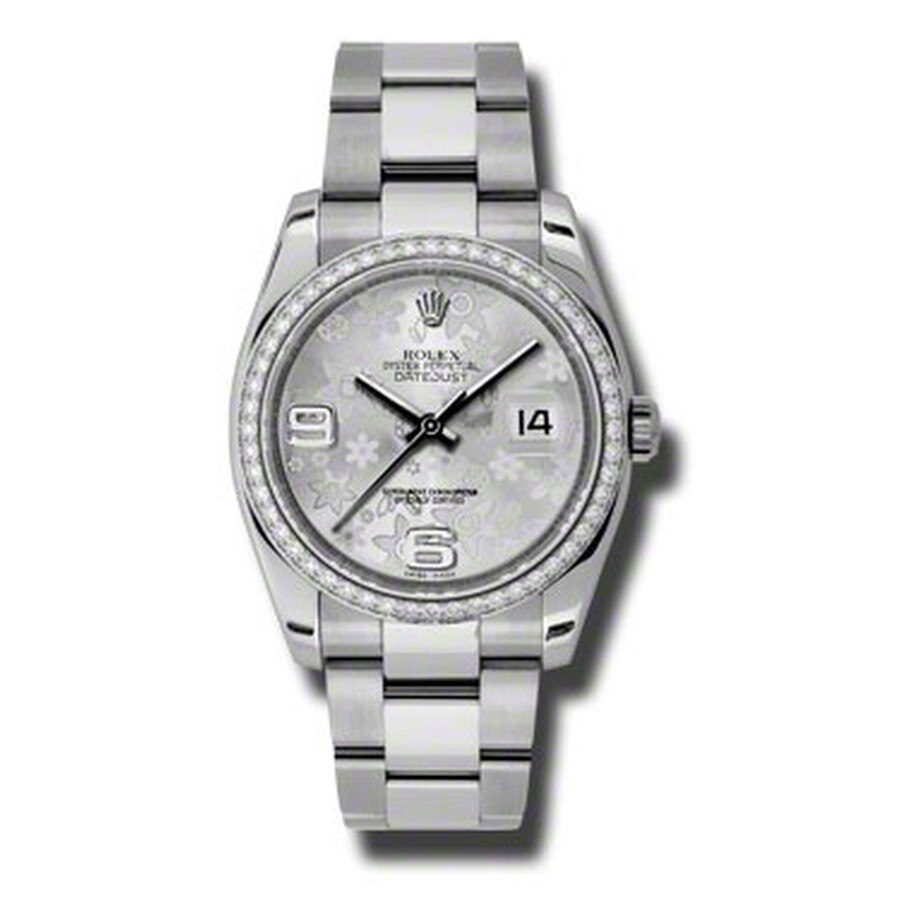 Rolex Oyster Perpetual Datejust 36 Silver Floral Dial Stainless Steel Bracel..