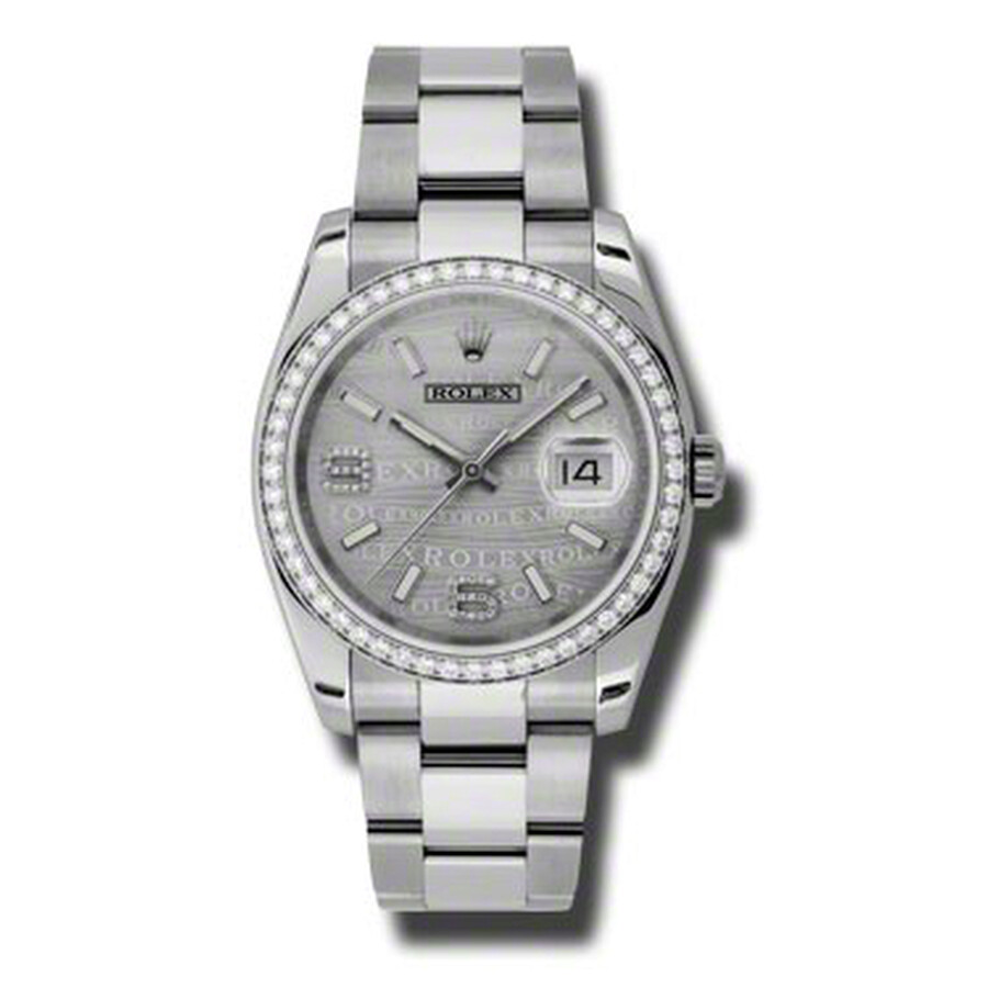 Rolex Oyster Perpetual Datejust 36 Silver Wave Dial Stainless Steel Bracelet..