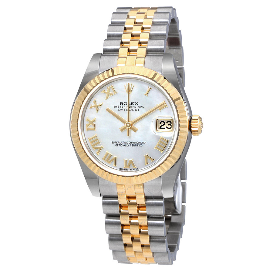 Rolex Oyster Perpetual Datejust Mother Of Pearl Dial Automatic Ladies Jubile..