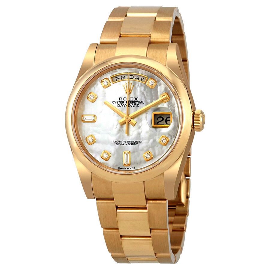 Rolex Oyster Perpetual Day-Date Mother of Pearl Dial Automatic Ladies 18 Car..