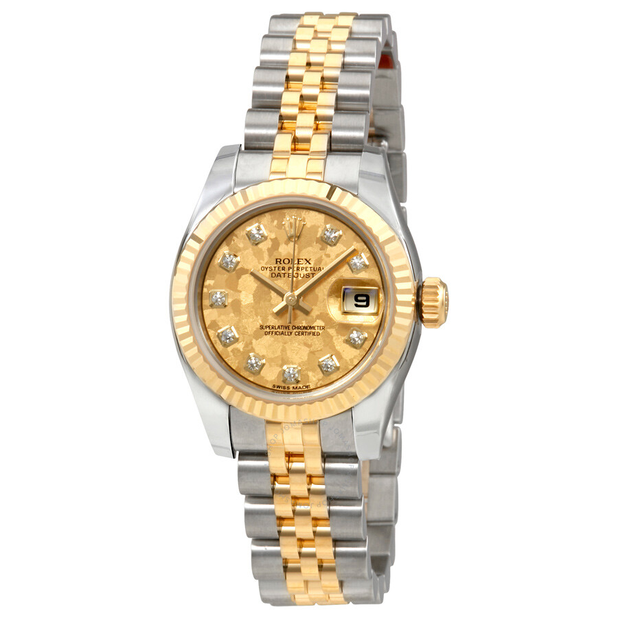 Rolex Oyster Perpetual Lady Datejust Gold Crystal Dial Automatic Ladies Stai..