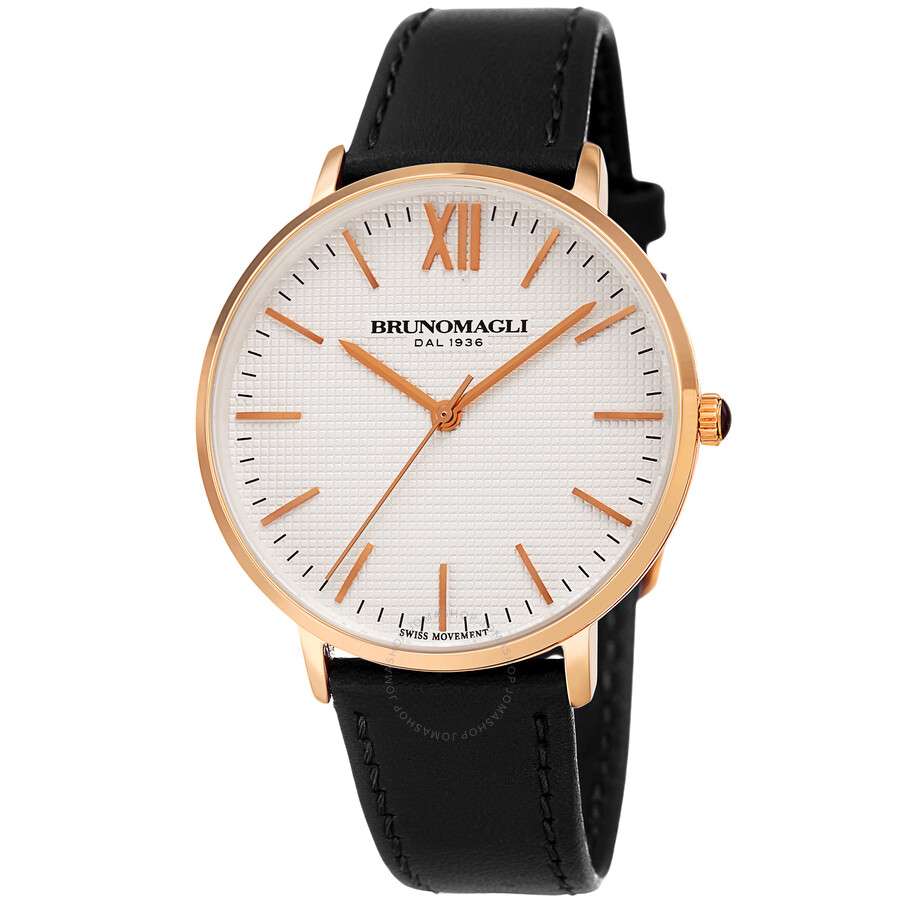 Rose Gold Tone Slim Case with White Checkered Dial on Black Smooth Italian L..