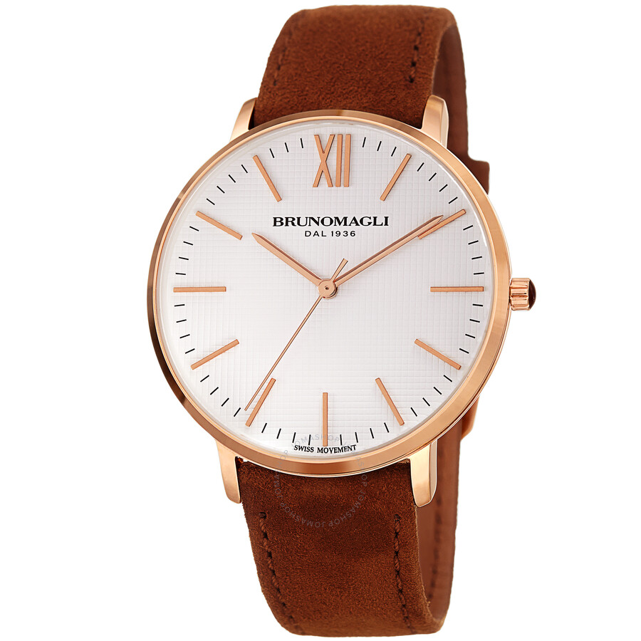 Rose Gold Tone Slim Case with White Checkered Dial on Brown Suede Italian Le..