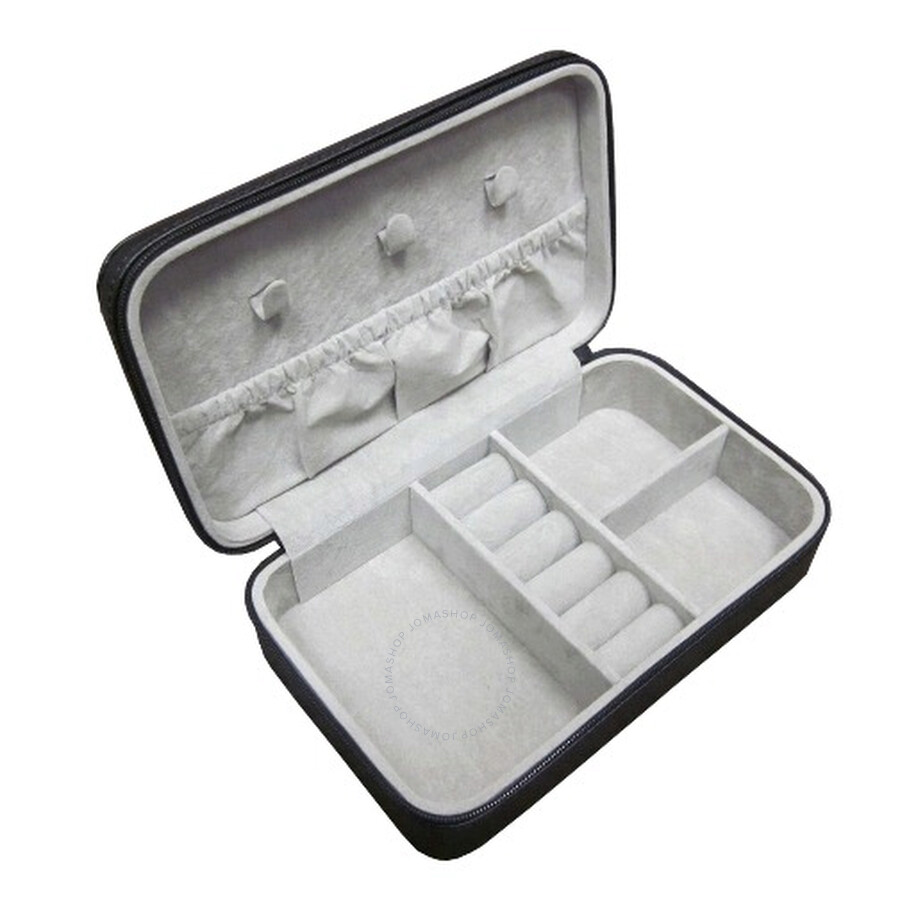 Royce Leather Zippered Travel Black Jewelry Case in Genuine Leather