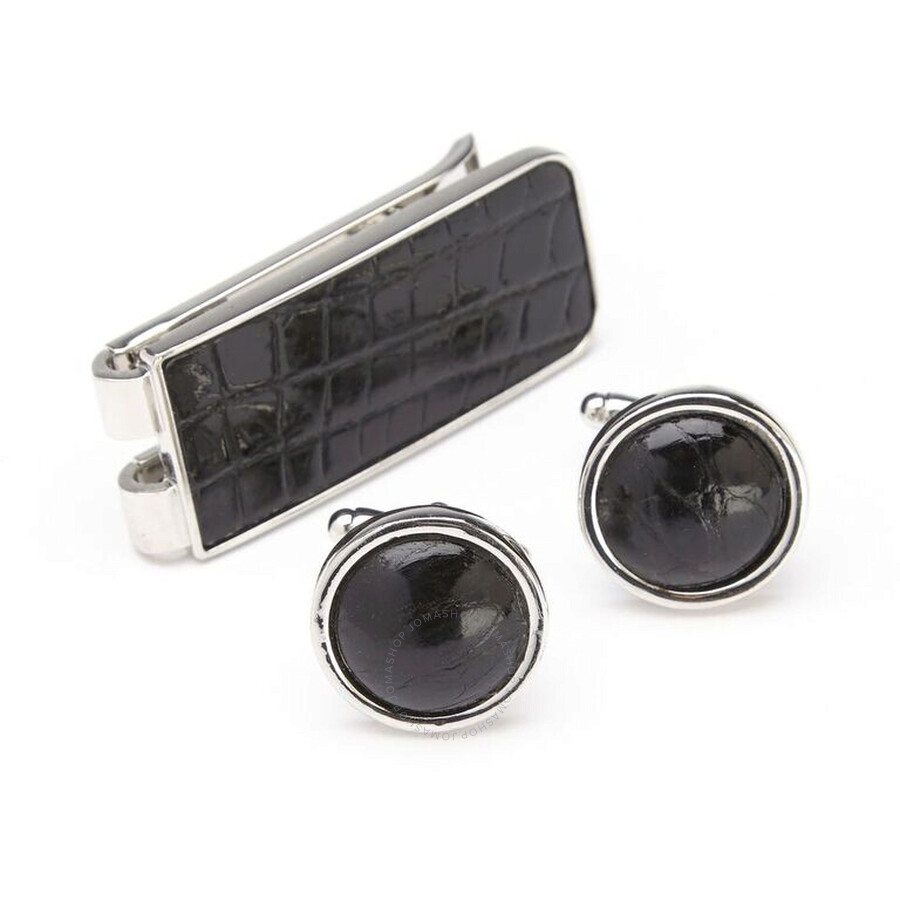 Royce Leather Black Genuine Alligator Money Clip and Cufflinks Luxury Gift Set, Made in USA