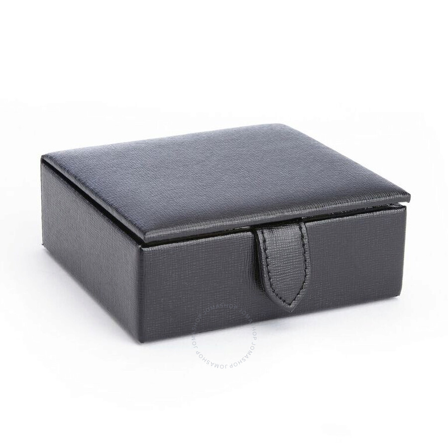 ... Royce Leather Black Suede Lined Travel Cufflink Storage Box In Saffiano  Genuine Leather, ...