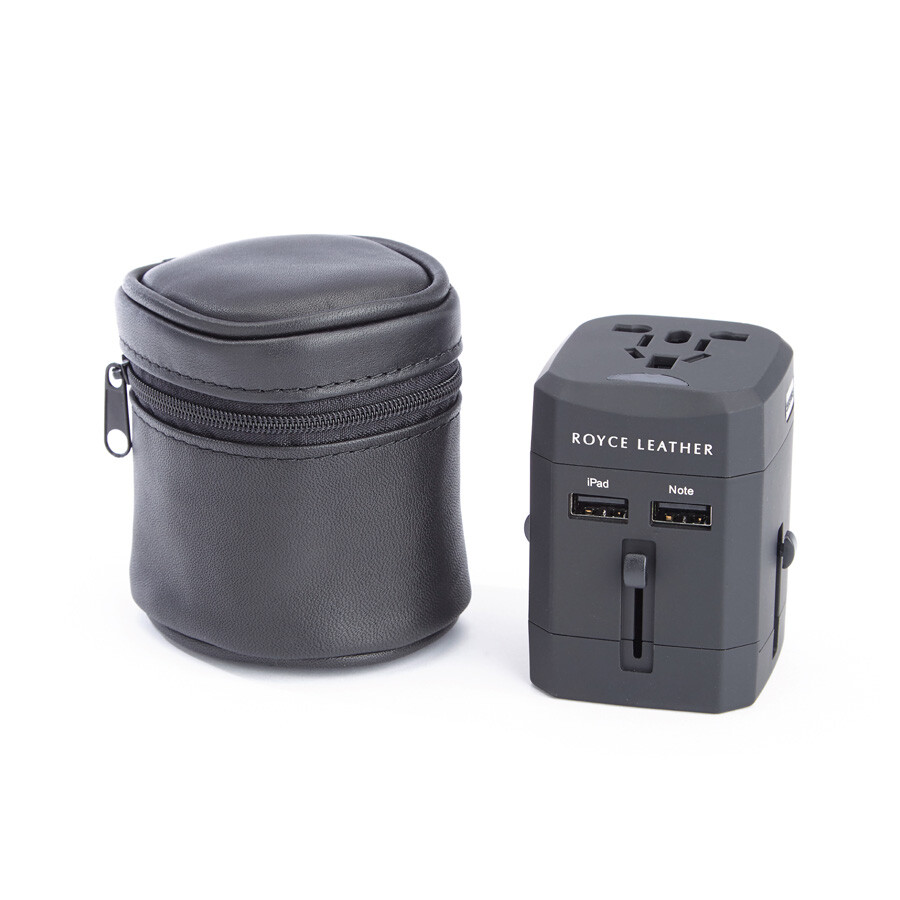 royce leather royce leather travel adapter in american leather carrying case