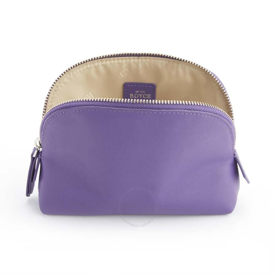 Royce Purple Cosmetic Case In Genuine Leather 253 5