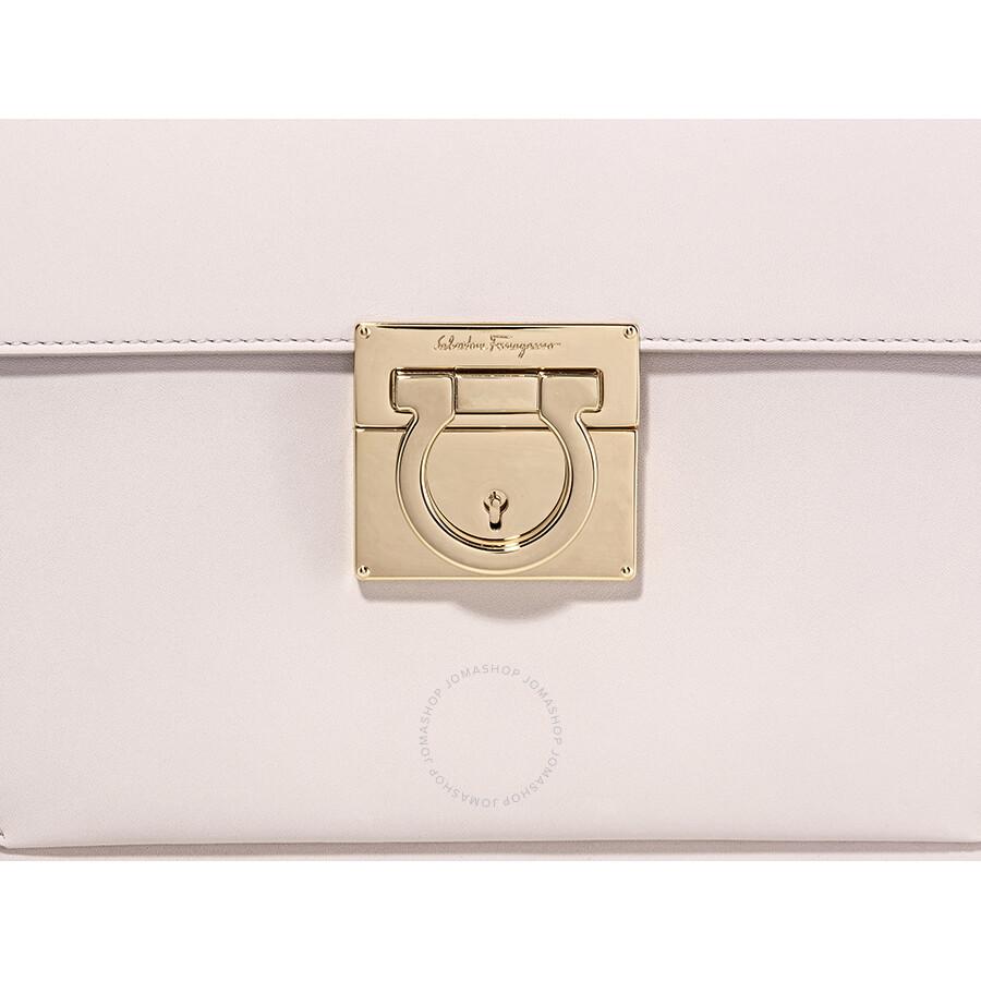Salvatore Ferragamo Marisol Leather Shoulder Bag Jasmine Flower